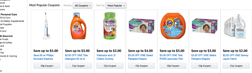 A screenshot of Amazon coupons