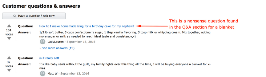 example of relevant amazon questions