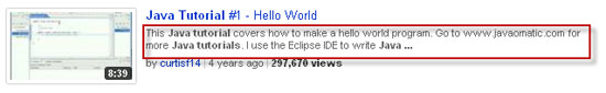 Java tutorial video description on YouTube.