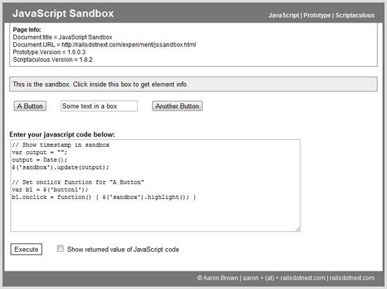 JavaScript Sandbox sandbox