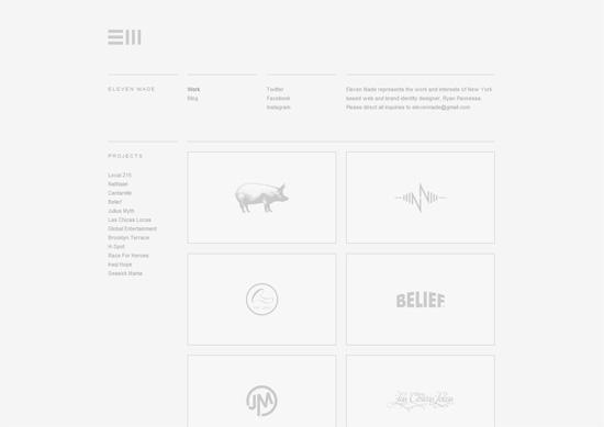 Minimalist portfolio website design example: Eleven Made
