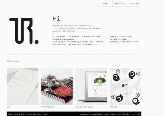 Minimalist portfolio website design example: Thuy Truc