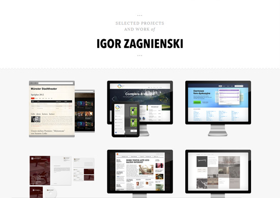 Minimalist portfolio website design example: Igor Zagnienski