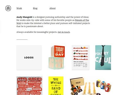 Minimalist portfolio website design example: Andy Mangold