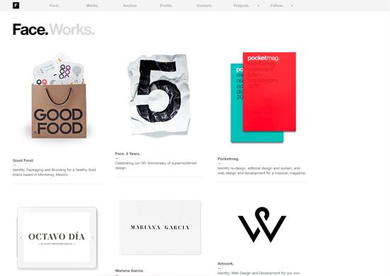 Minimalist portfolio website design example: Face. Works.