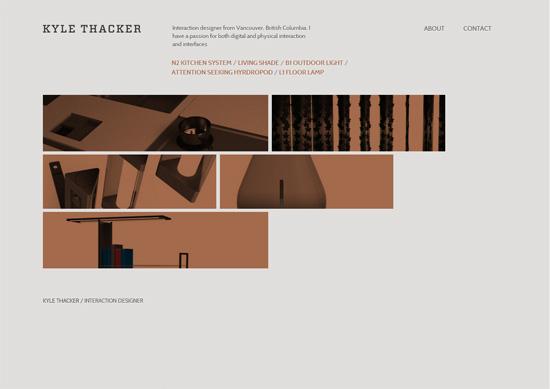 Minimalist portfolio website design example: Kyle Thacker
