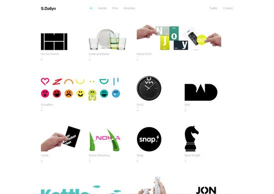 Minimalist portfolio website design example: Sam Dallyn