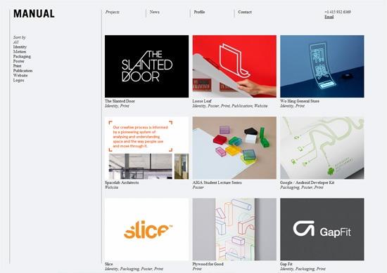 Minimalist portfolio website design example: Manual