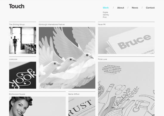 Minimalist portfolio website design example: The Touch Agency