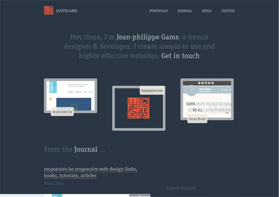 Minimalist portfolio website design example: Jean-philippe Gams