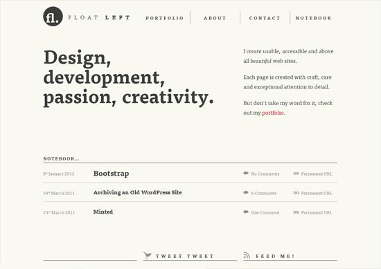 Minimalist portfolio website design example: Float Left