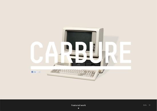 Minimalist portfolio website design example: Carbure