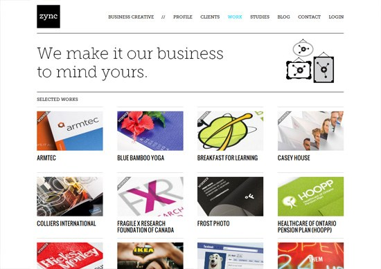 Minimalist portfolio website design example: zync