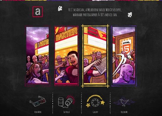 Dark website design example: Adrian Baxter