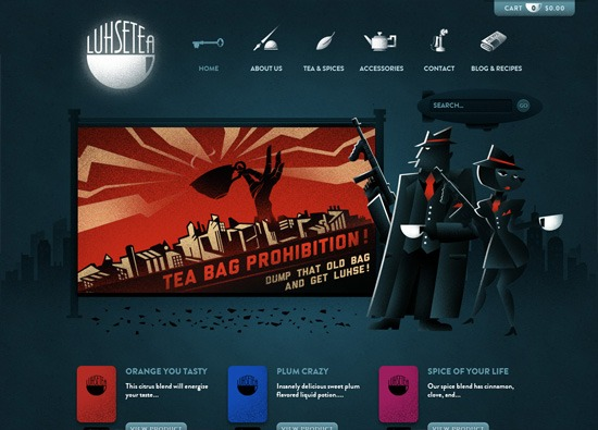 Dark website design example: Luhse Tea