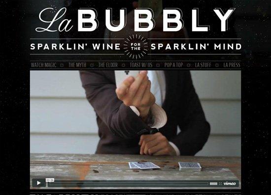 Dark website design example: La Bubbly