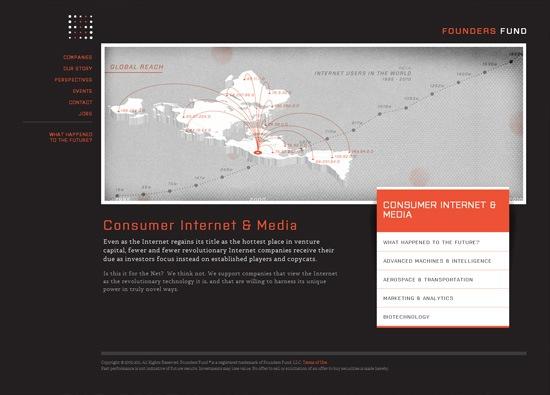 Dark website design example: Founders Fund