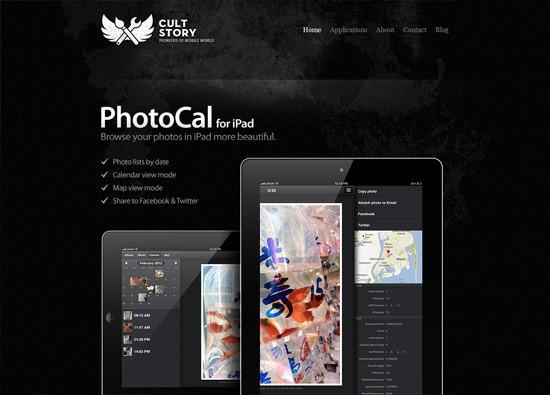 Dark website design example: CultStory