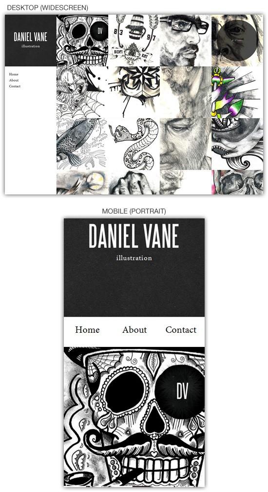 Responsive web design example: Daniel Vane