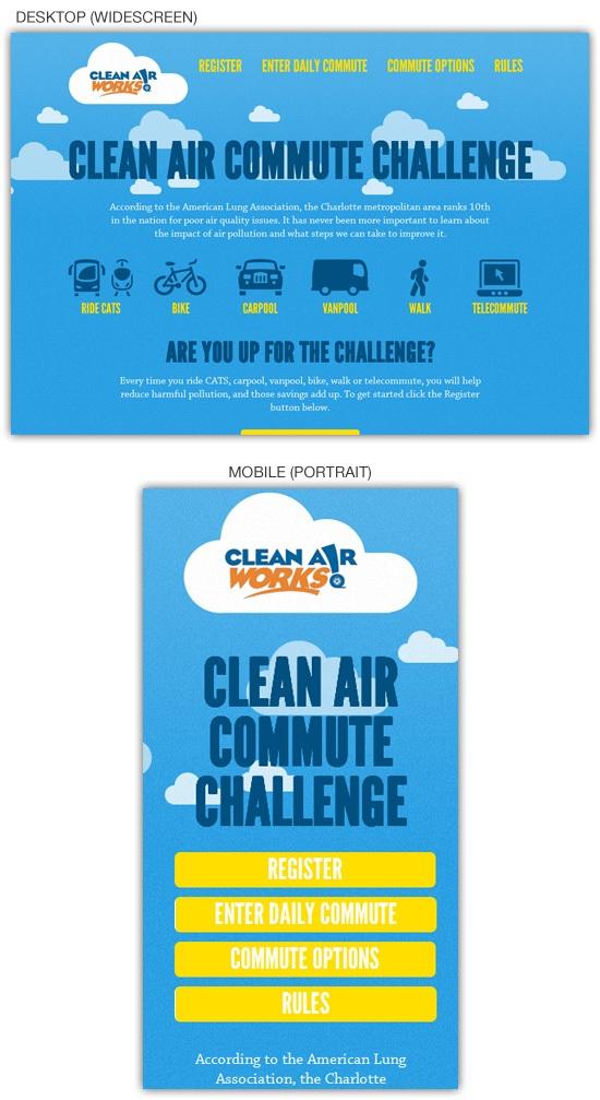 Responsive web design example: Clean Air Challenge