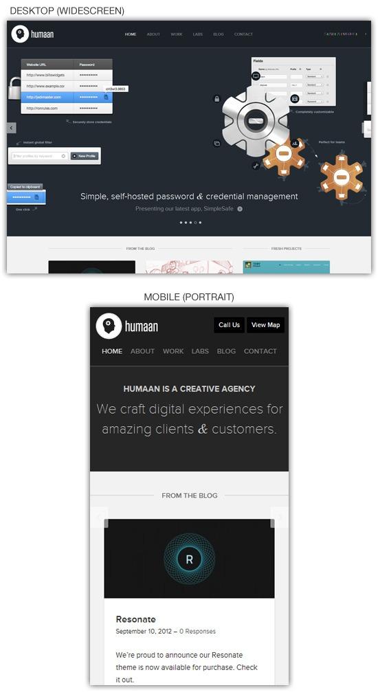 Responsive web design example: Humaan