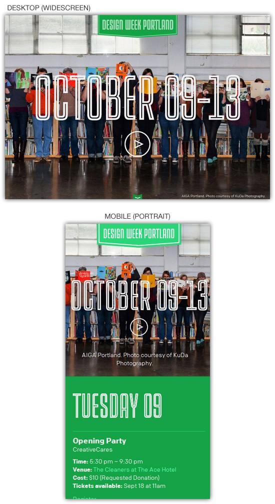 Responsive web design example: Design Week Portland