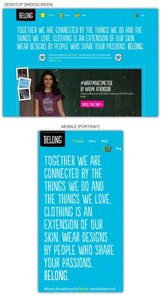 Responsive web design example: Belong
