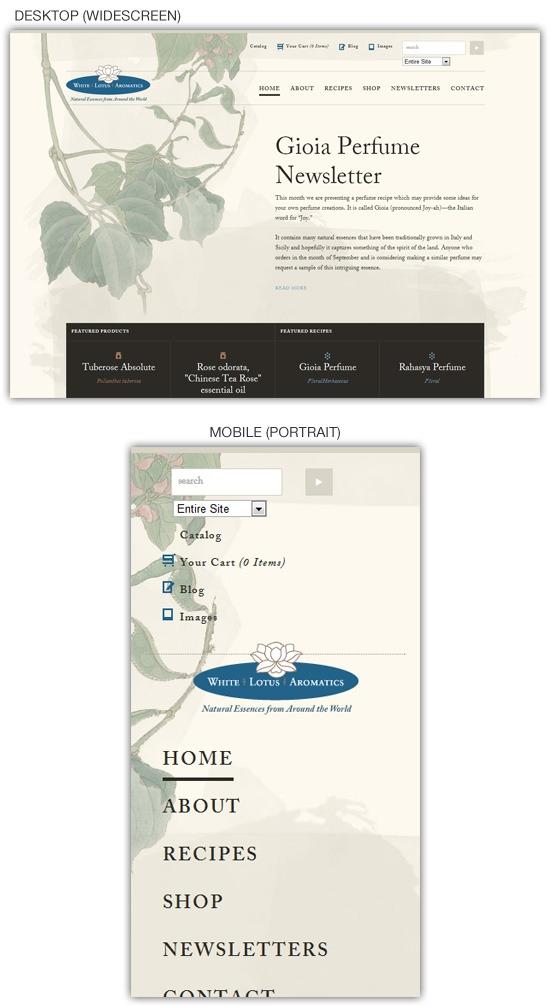 Responsive web design example: White Lotus Aromatics