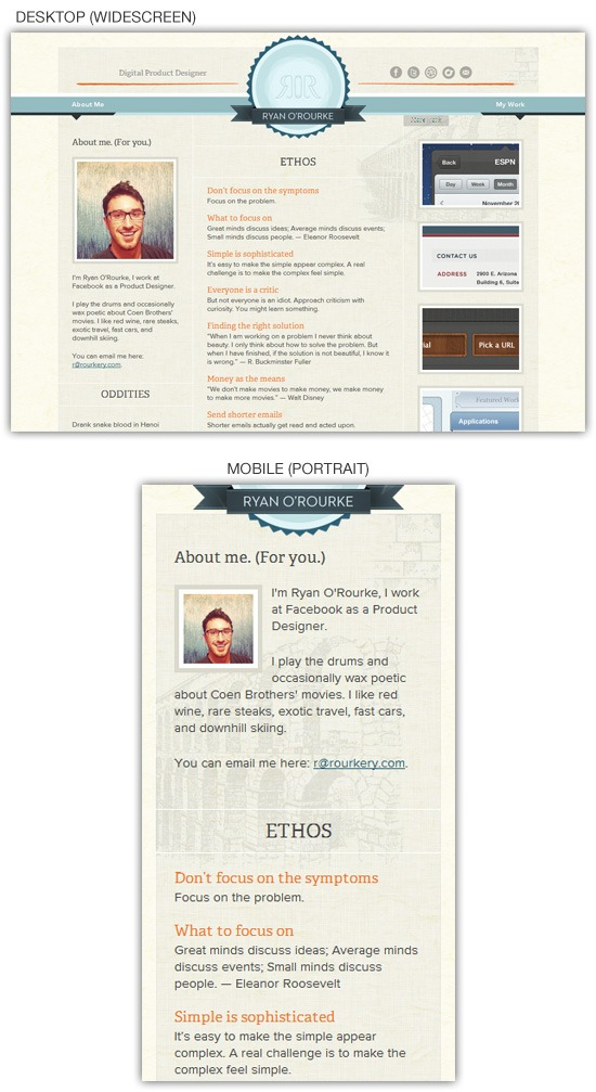 Responsive web design example: Ryan O'Rourke
