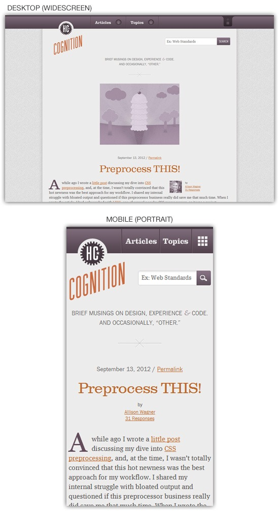 Responsive web design example: Cognition