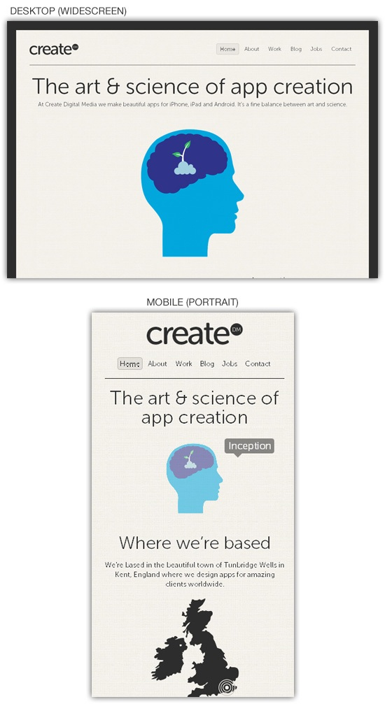 Responsive web design example: Create Digital Media
