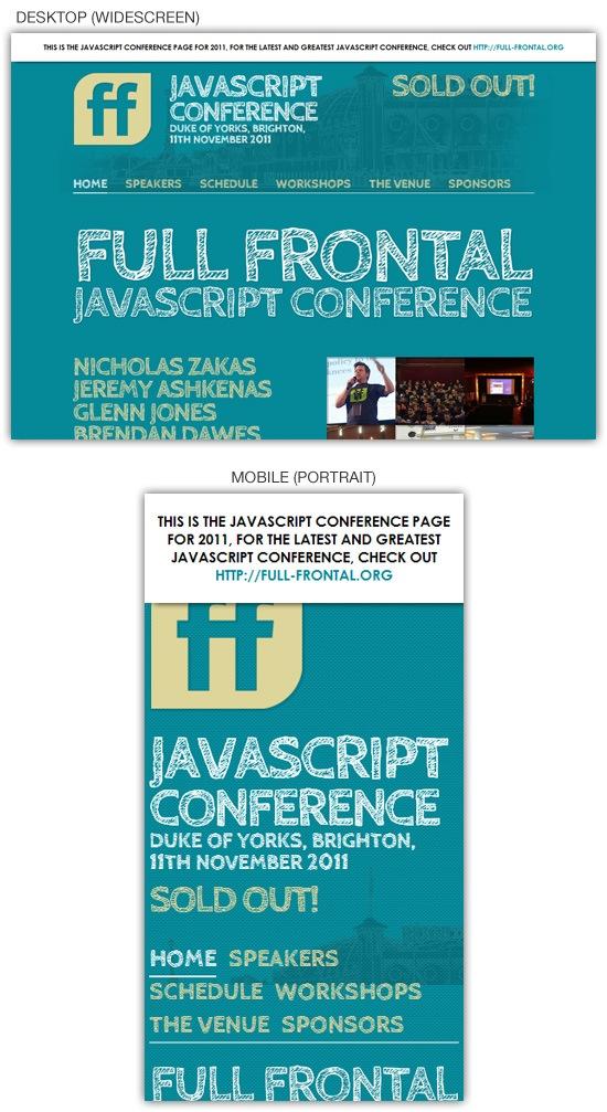 Responsive web design example: Full Frontal 2011