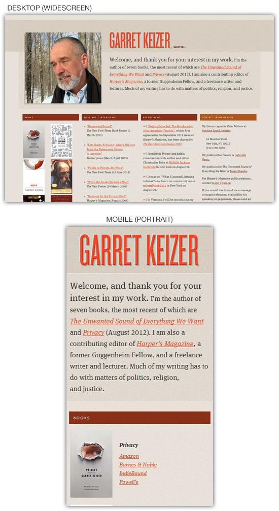 Responsive web design example: Garret Keizer