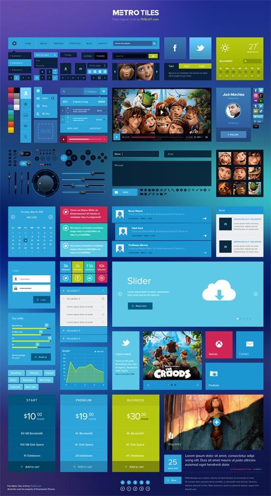 Free Download: Metro Tiles UI Kit (PSD) - Full Preview