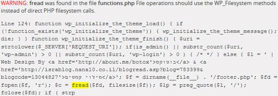 Theme-check finding a WordPress theme error.