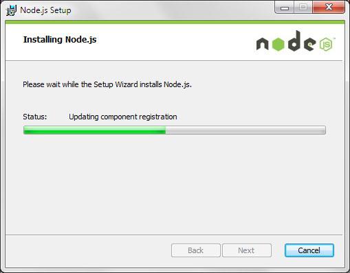 Node.js Setup wizard installing Node.js