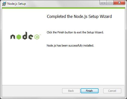 Node.js Setup completed the Node.js installation