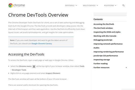 Official Chrome DevTools Docs