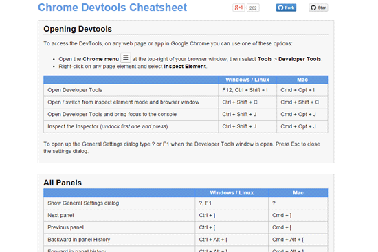 Chrome DevTools Cheatsheet