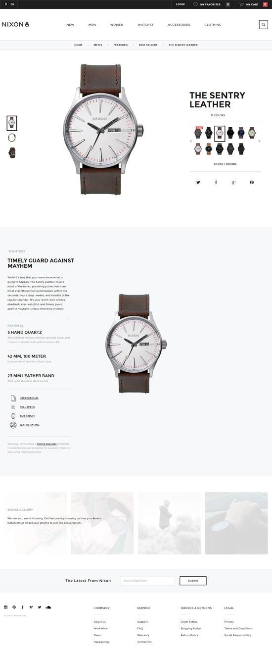 Product page design: Nixon