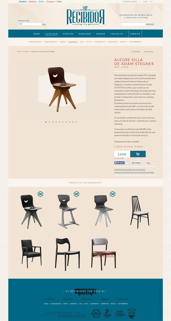 Product page design: El Recibidor