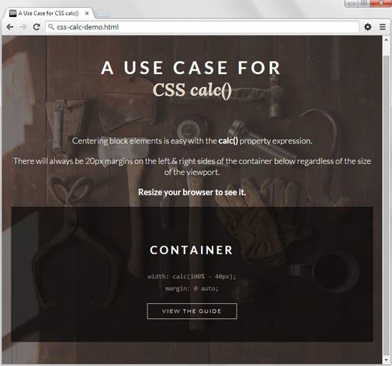 A demo of CSS calc()