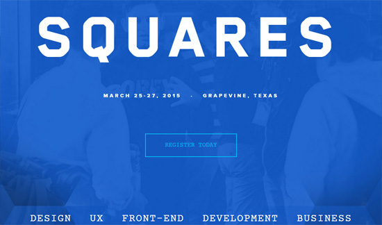 Ghost button example: Squares Conference