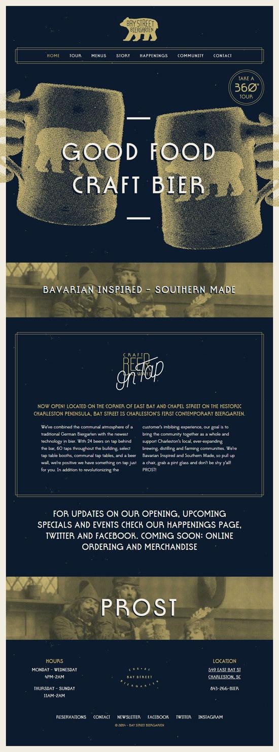 Web typography example: Bay Street Biergarten