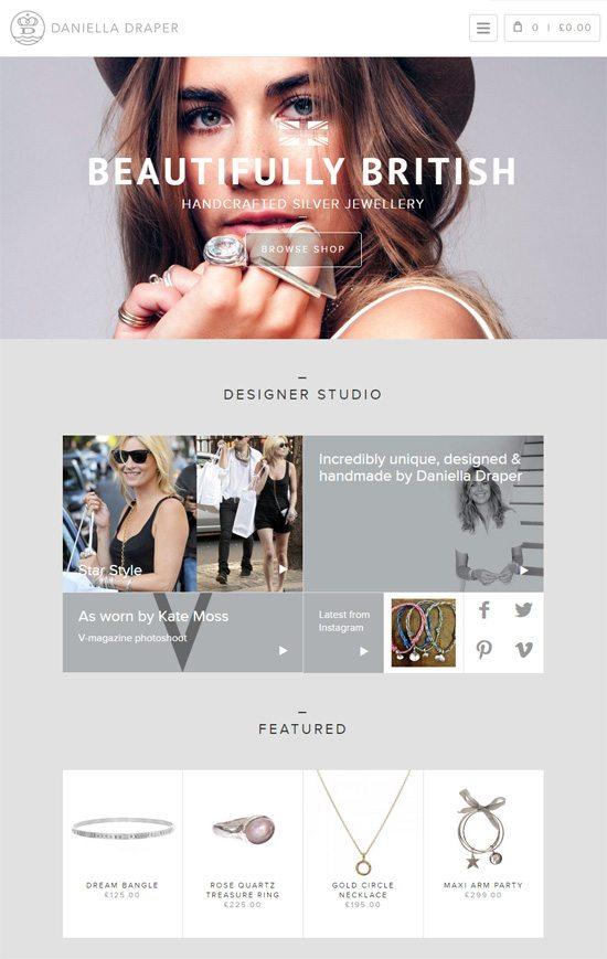 Web typography example: Daniella Draper