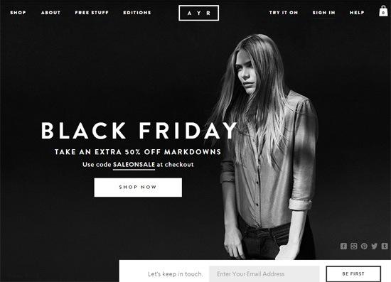 Web typography example: AYR