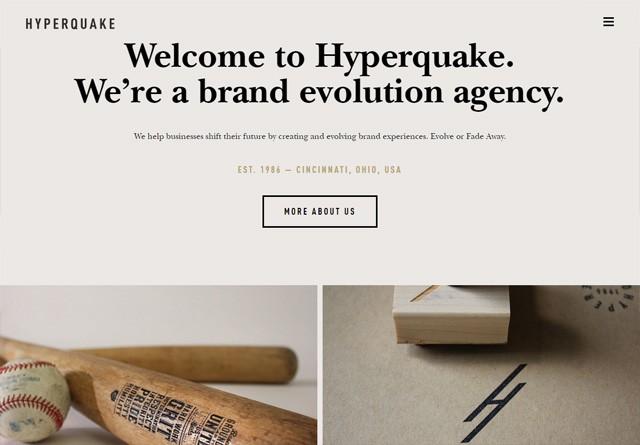 Earth-toned web design: Hyperquake