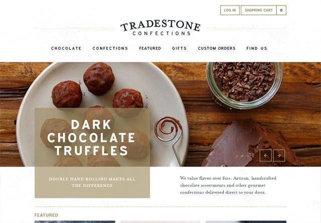 Earth-toned web design: Tradestone Confections