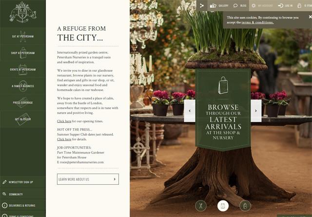 Earth-toned web design: Petersham Nurseries