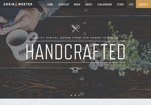 Earth-toned web design: Grain & Mortar